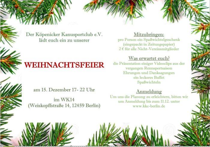 Einladung Weihnachtsfeier Verein.Einladung Zur Kkc Weihnachtsfeier 15 12 17 Uhr Köpenicker