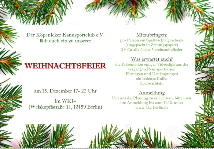 Einladung Zur Weihnachtsfeier.Einladung Weihnachtsfeier 2017 Kopenicker Kanusportclub E V